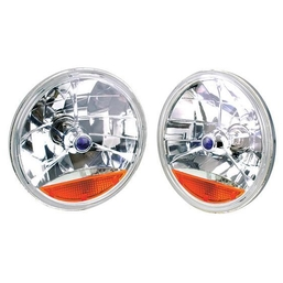 Tri-Bar Headlight W/Amber Turn Signal Lens