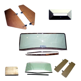 Cobra Replica Windshield, Windwings, Sunvisors and Windshield Surround Plates