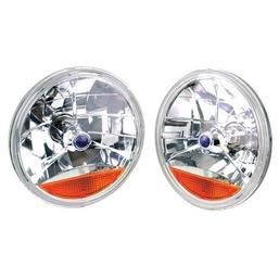 Tri-Bar Headlight W/Amber Turn Signal Lens